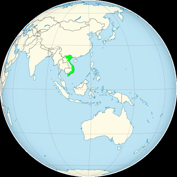 موقعیت ویتنام در قاره آسیا